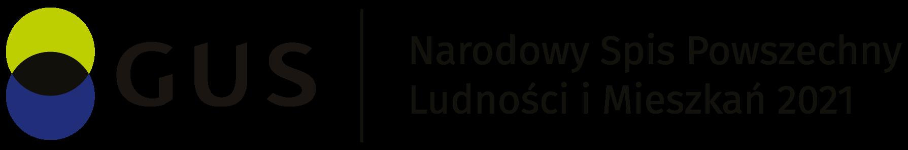 Logo Głównego Urzędu Statystycznego z pełną nazwą w języku polskim: Narodowy Spis Powszechny Ludności i Mieszkań 2021, w kolorze
