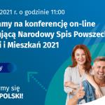 Banner informacyjny o konferencji on-line inaugurującej Narodowy Spis Powszechny Ludności i Mieszkań 2021, niebieskie tło, po prawej grupa osób uśmiechnięta