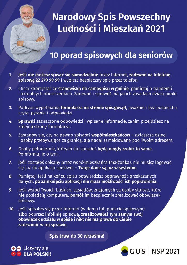 Grafika naktórejwypisane jest 10 porad spisowych dla seniorów wformacie JPG.