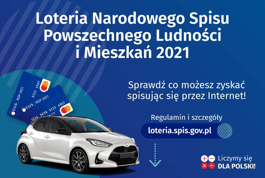 """Zdjęcie nagród wloterii (samochód, karty) oraznapis """"Loteria Narodowego Spisu Powszechnego Ludności iMieszkań 2021"""""""