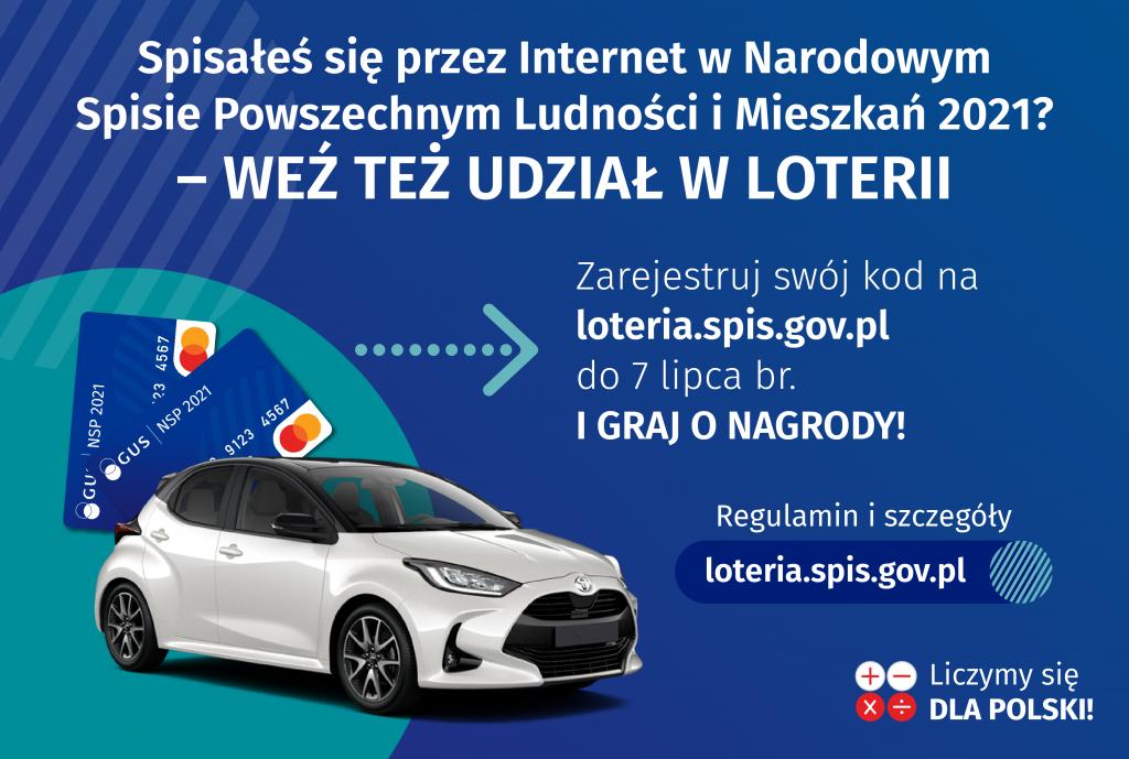 Grafika przedstawiająca nagrody wloterii wraz zinformacją omożliwości udziału wloterii ikonieczności zarejestrowania kodu nastronie loteria.spis.gov.pl