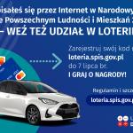 Grafika przedstawiająca nagrody w loterii wraz z informacją o możliwości udziału w loterii i konieczności zarejestrowania kodu na stronie loteria.spis.gov.pl