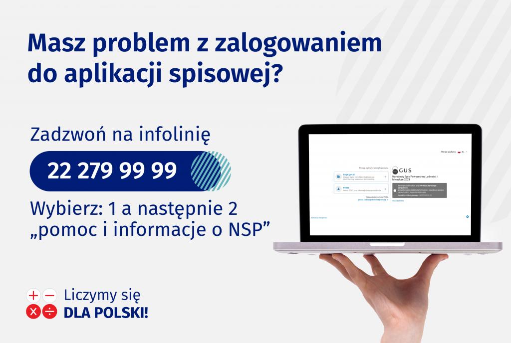 Zdjęcie komputera poprawej stronie, polewej informacja otym, żewrazie problemów zlogowaniem można dzwonić nainfolinię 222799999