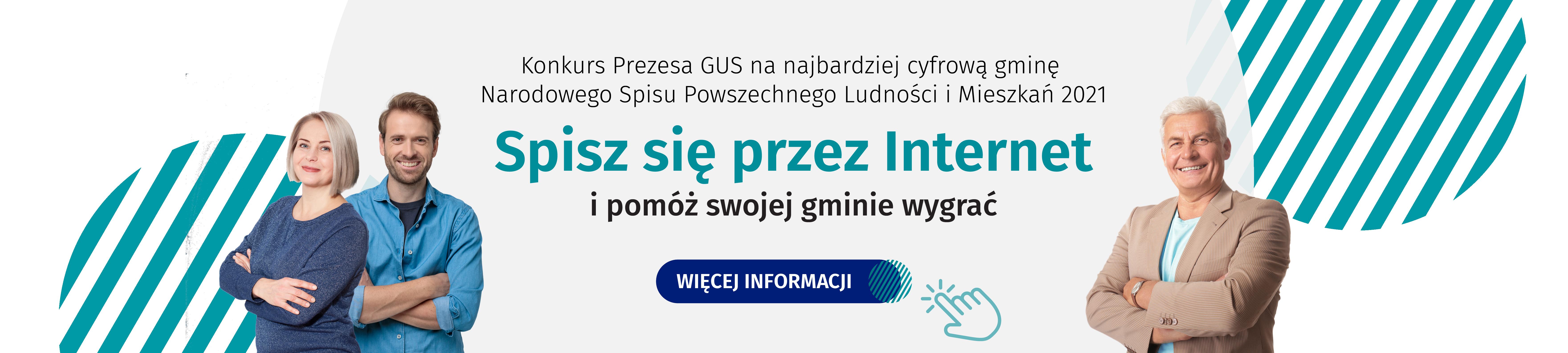 """Osoby wróżnym wieku, uśmiechnięte, wśrodku napis """"konkurs prezesa GUS nanajbardziej cyfrową gminę NSP 2021, spisz się przezinternet ipomóż swojej gminie wygrać"""""""