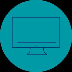 ikona przedstawiająca monitor komputera, nazielonym tle