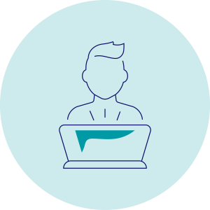 ikona przedstawiająca człowieka przedkomputerem nazielonym tle