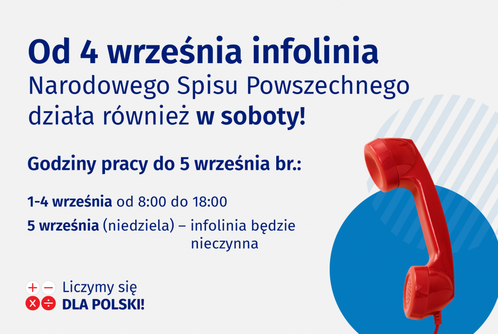 Od 4 września br. infolinia pracuje także w soboty!